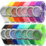 Free Shipping 14 colors Fashion Silicone GENEVA Watch Hot Selling Women Dress Watch Women Rhinestone Watches 1piece