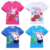 2014 Arrival Peppa Pig T-shirt White Pink Kids' T-shirt Girls' Clothes Boy Tees 100% Cotton