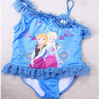 One Piece Swim Bodysuit Frozen Anna and Elsa Swimsuit?