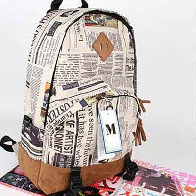 Kids' Newspaper Print Canvas Backpack