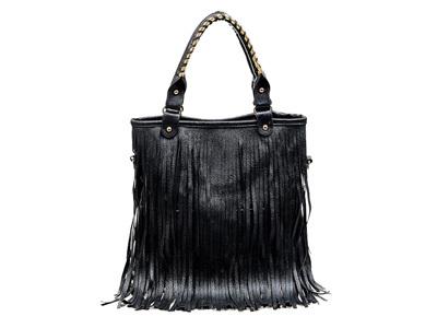 Bolsa de mão com franjas em couro