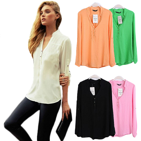 Women Spring Summer New Fashion 5 Candy Colors Long Sleeve V Neck Top Blouse