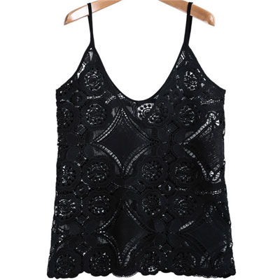 Sheinside Summer Sexy Women\'s Tops Beachwear Style High Street Solid BlackV-neck Spaghetti Strap Lace Camisole