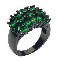 10KT Black Gold Filled Copper Green Emerald Zircon Wedding Ring for Men