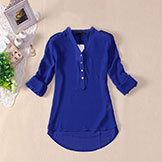 Women's Spring Summer V-neck Chiffon Elegant All-Match Solid Botton Casual Spirals Shirt Blousexfs3106