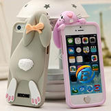 Silicone Back Cover Case w/ Rabbit Decoration for iPhone 5/5S