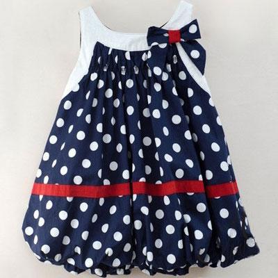 Baby Girls' Sleeveless Dress w/ Bowknot & White Dots Navy Blue