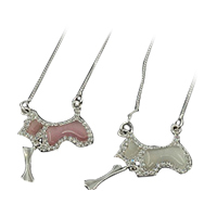 Dog Necklace Pendant with Chain Real Silver Gift