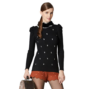 Osa Women's Animal Printed Lace Splicing Sweater w/ Turtleneck & Puff Sleeve