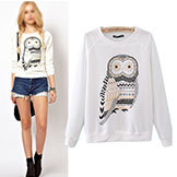 Outerwearxs-S-M-L Autumn Casual Cute White Owl Animal Print Beading Hoodies Pullover Women's Wt4002