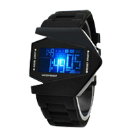 Cool Men Plastic Airplane LED Digital Watch