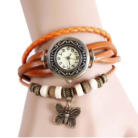 Free Shipping 2014 Original High Quality Women Genuine Leather Vintage Watches,Bracelet Wristwatches Tower