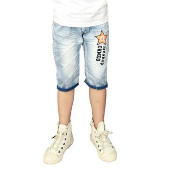 2016 verão azul estrela impresso crianças calças meninos de jeans denim shorts para crianças adolescentes 11 anos